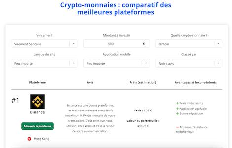 comparer plateform crypto meilleure