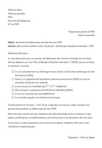modele lettre type deblocage anticipe per